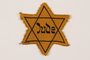 Yellow cloth Star of David badge with Jude printed in the center
