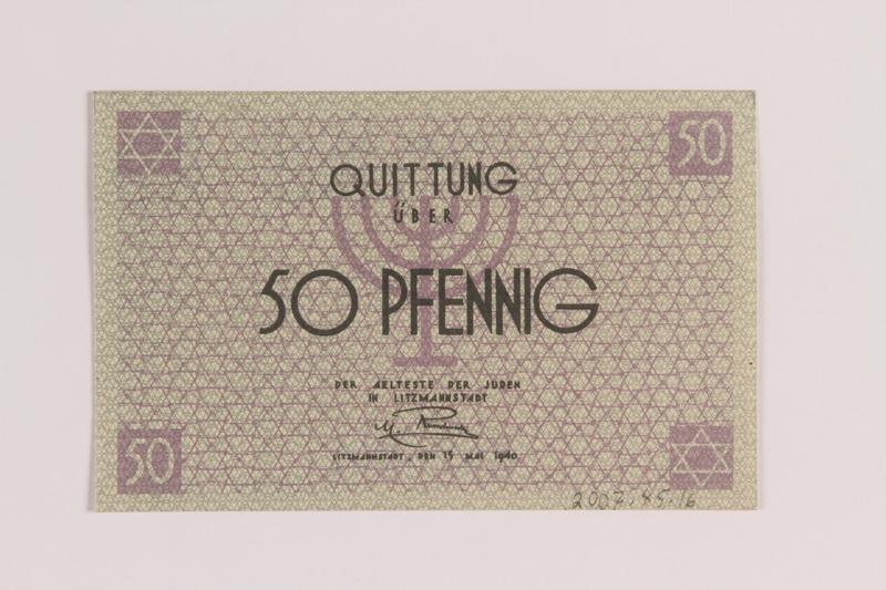 2007.45.16 front Łódź (Litzmannstadt) ghetto scrip, 50 pfennig note