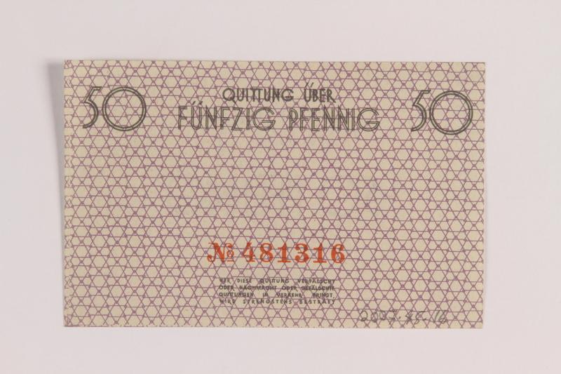 2007.45.16 back Łódź (Litzmannstadt) ghetto scrip, 50 pfennig note
