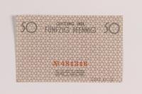 2007.45.16 back Łódź (Litzmannstadt) ghetto scrip, 50 pfennig note  Click to enlarge