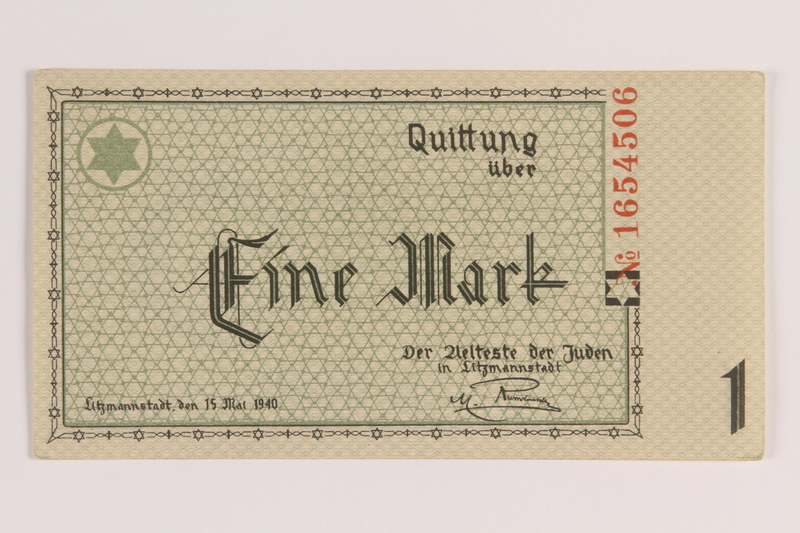 2007.45.18 front Łódź (Litzmannstadt) ghetto scrip, 1 mark note
