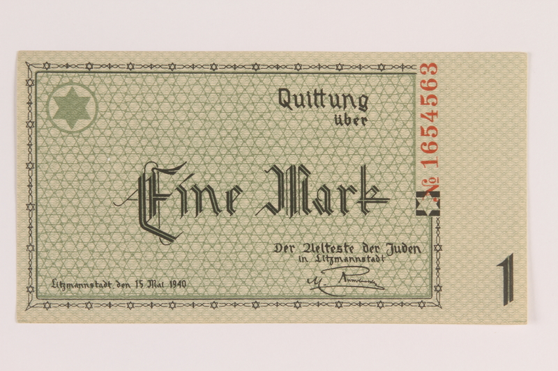 2007.45.32 front Lodz (Litzmannstadt) ghetto scrip, 1 mark note