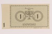 2007.45.34 back Lodz (Litzmannstadt) ghetto scrip, 1 mark note  Click to enlarge
