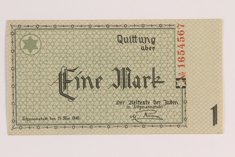 2007.45.36 front Łódź (Litzmannstadt) ghetto scrip, 1 mark note