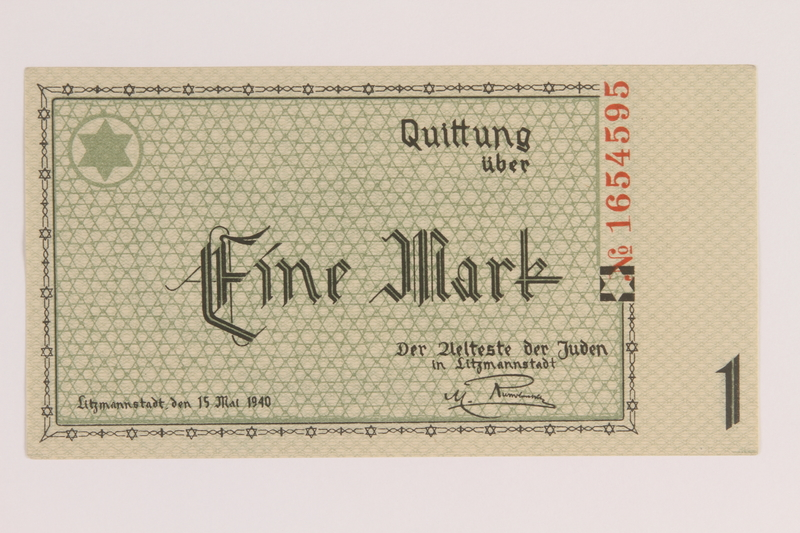 2007.45.37 front Lodz (Litzmannstadt) ghetto scrip, 1 mark note