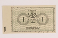 2007.45.37 back Lodz (Litzmannstadt) ghetto scrip, 1 mark note  Click to enlarge