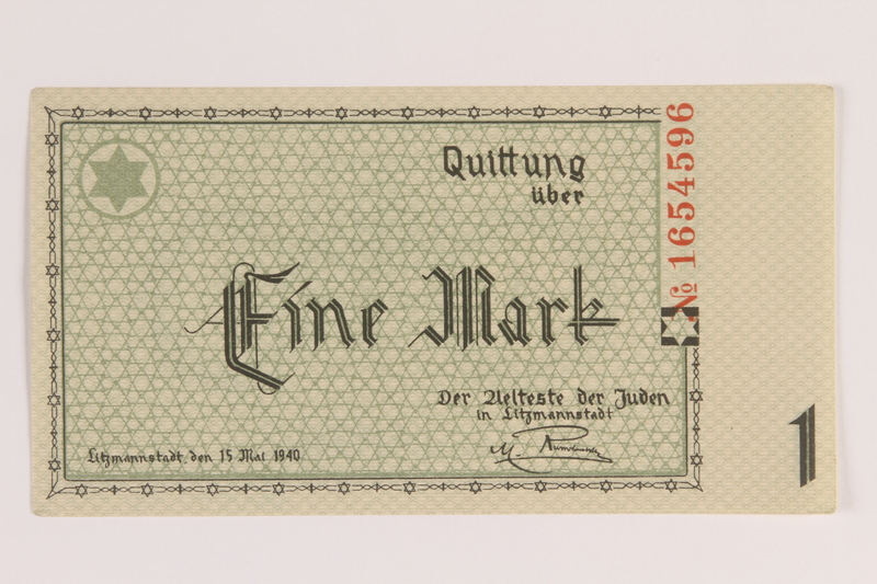 2007.45.38 front Lodz (Litzmannstadt) ghetto scrip, 1 mark note