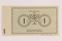 2007.45.38 back Lodz (Litzmannstadt) ghetto scrip, 1 mark note  Click to enlarge