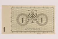 2007.45.45 back Lodz (Litzmannstadt) ghetto scrip, 1 mark note  Click to enlarge