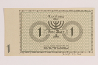2007.45.46 back Lodz (Litzmannstadt) ghetto scrip, 1 mark note  Click to enlarge