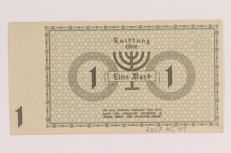 2007.45.49 back Łódź (Litzmannstadt) ghetto scrip, 1 mark note