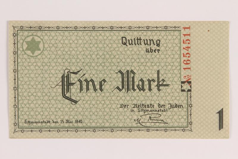 2007.45.51 front Lodz (Litzmannstadt) ghetto scrip, 1 mark note
