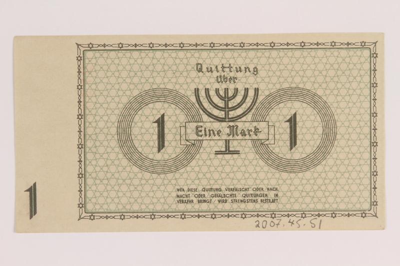 2007.45.51 back Lodz (Litzmannstadt) ghetto scrip, 1 mark note