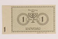 2007.45.51 back Lodz (Litzmannstadt) ghetto scrip, 1 mark note  Click to enlarge