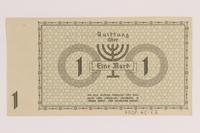 2007.45.52 back Lodz (Litzmannstadt) ghetto scrip, 1 mark note  Click to enlarge