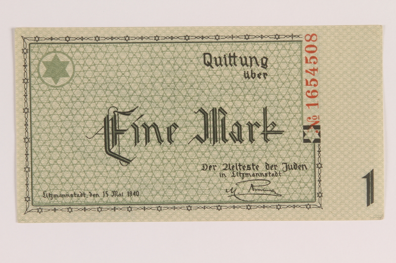 2007.45.54 front Łódź (Litzmannstadt) ghetto scrip, 1 mark note