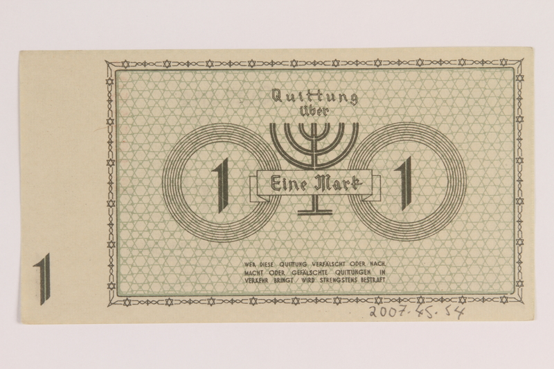 2007.45.54 back Łódź (Litzmannstadt) ghetto scrip, 1 mark note