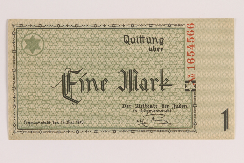 2007.45.57 front Lodz (Litzmannstadt) ghetto scrip, 1 mark note