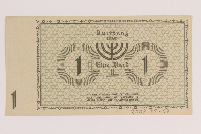 2007.45.57 back Lodz (Litzmannstadt) ghetto scrip, 1 mark note