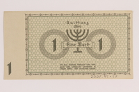2007.45.57 back Lodz (Litzmannstadt) ghetto scrip, 1 mark note  Click to enlarge