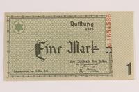2007.45.60 front Lodz (Litzmannstadt) ghetto scrip, 1 mark note  Click to enlarge