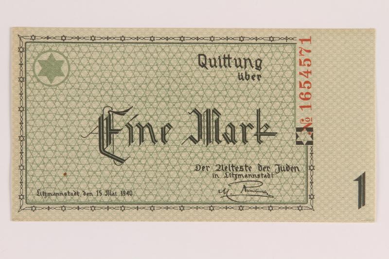 2007.45.63 front Lodz (Litzmannstadt) ghetto scrip, 1 mark note