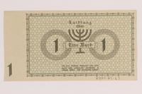 2007.45.63 back Lodz (Litzmannstadt) ghetto scrip, 1 mark note  Click to enlarge