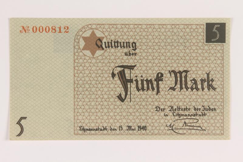 2007.45.72 front Łódź (Litzmannstadt) ghetto scrip, 5 mark note