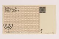 2007.45.72 back Łódź (Litzmannstadt) ghetto scrip, 5 mark note  Click to enlarge