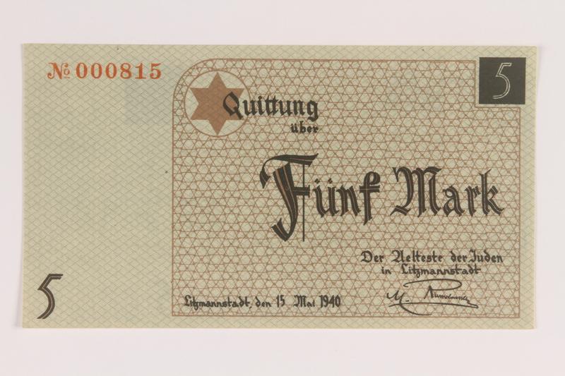 2007.45.75 front Łódź (Litzmannstadt) ghetto scrip, 5 mark note