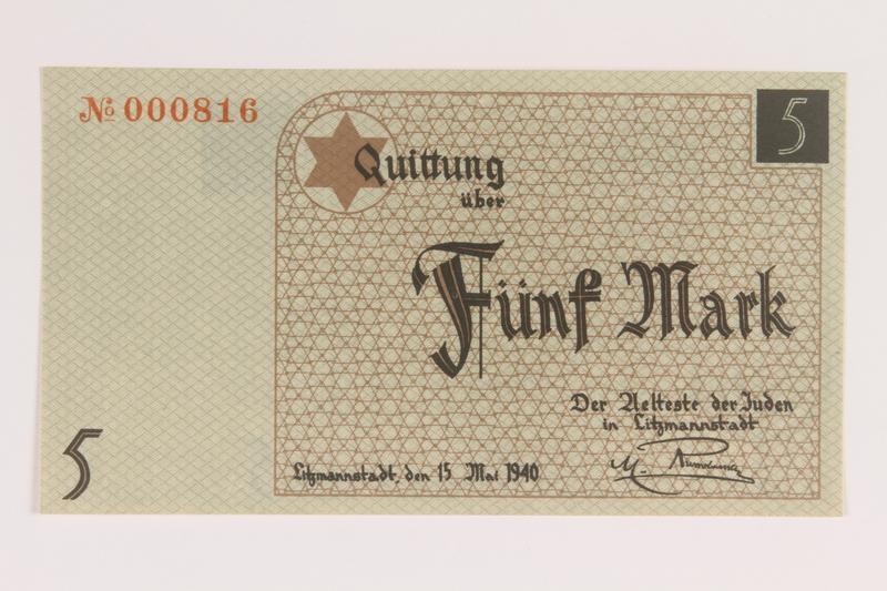 2007.45.76 front Łódź (Litzmannstadt) ghetto scrip, 5 mark note