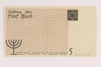 2007.45.76 back Łódź (Litzmannstadt) ghetto scrip, 5 mark note  Click to enlarge