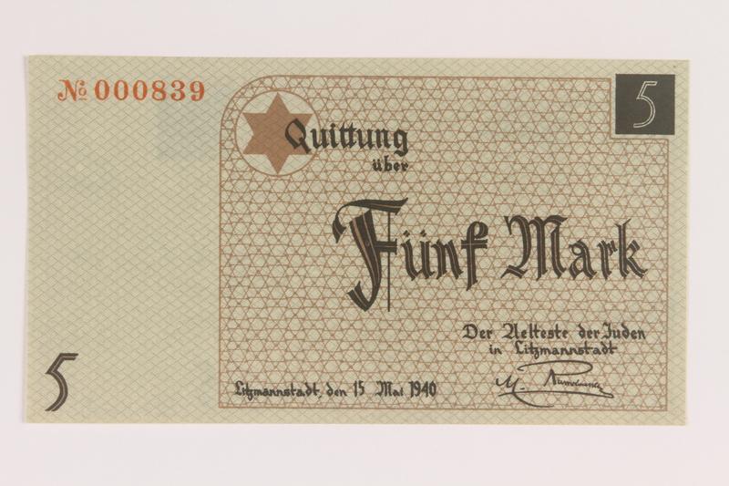 2007.45.79 front Łódź (Litzmannstadt) ghetto scrip, 5 mark note