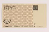 2007.45.80 back Łódź (Litzmannstadt) ghetto scrip, 5 mark note  Click to enlarge