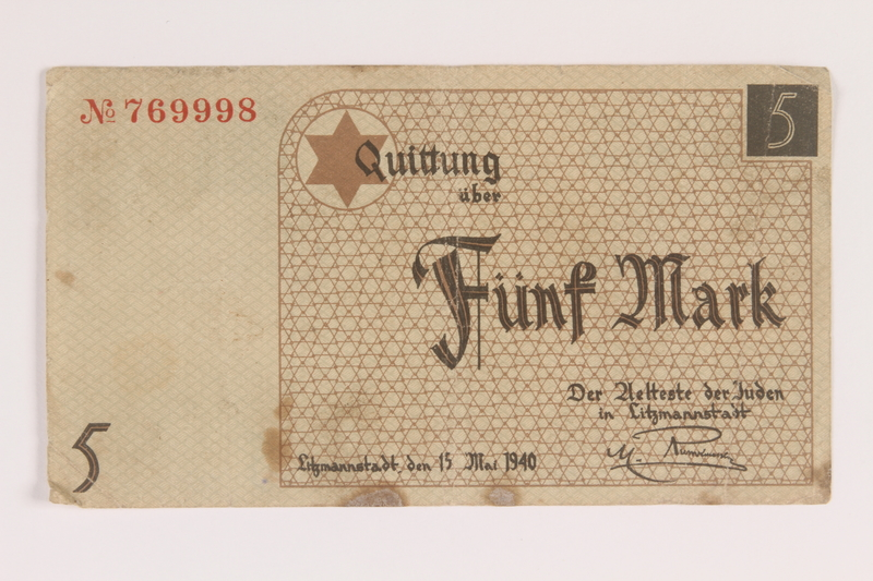 2007.45.81 front Łódź (Litzmannstadt) ghetto scrip, 5 mark note