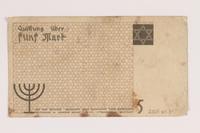 2007.45.81 back Łódź (Litzmannstadt) ghetto scrip, 5 mark note  Click to enlarge