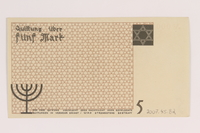 2007.45.82 back Łódź (Litzmannstadt) ghetto scrip, 5 mark note  Click to enlarge