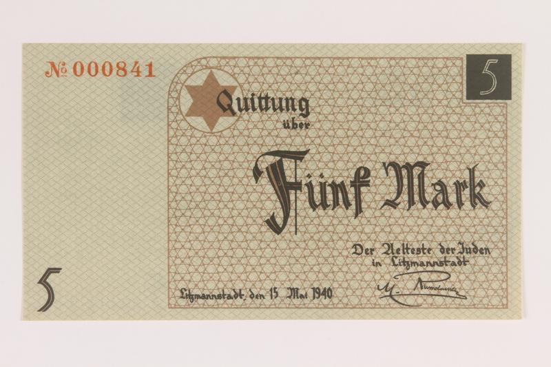 2007.45.83 front Łódź (Litzmannstadt) ghetto scrip, 5 mark note