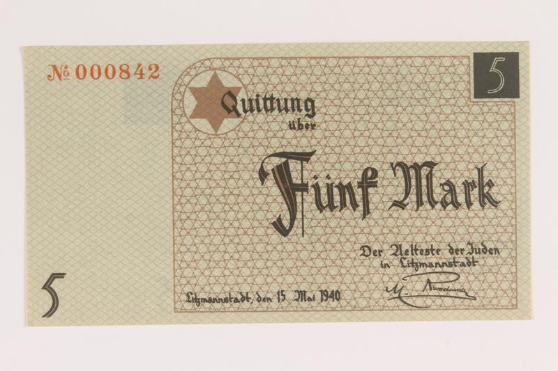 2007.45.85 front Łódź (Litzmannstadt) ghetto scrip, 5 mark note