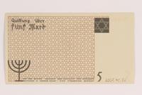 2007.45.86 back Łódź (Litzmannstadt) ghetto scrip, 5 mark note  Click to enlarge