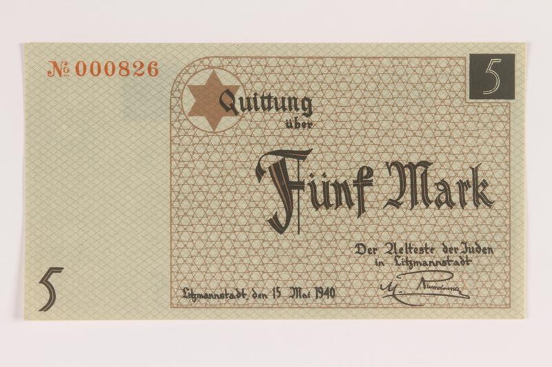 2007.45.87 front Łódź (Litzmannstadt) ghetto scrip, 5 mark note