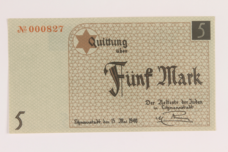 2007.45.88 front Łódź (Litzmannstadt) ghetto scrip, 5 mark note