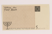 2007.45.88 back Łódź (Litzmannstadt) ghetto scrip, 5 mark note  Click to enlarge