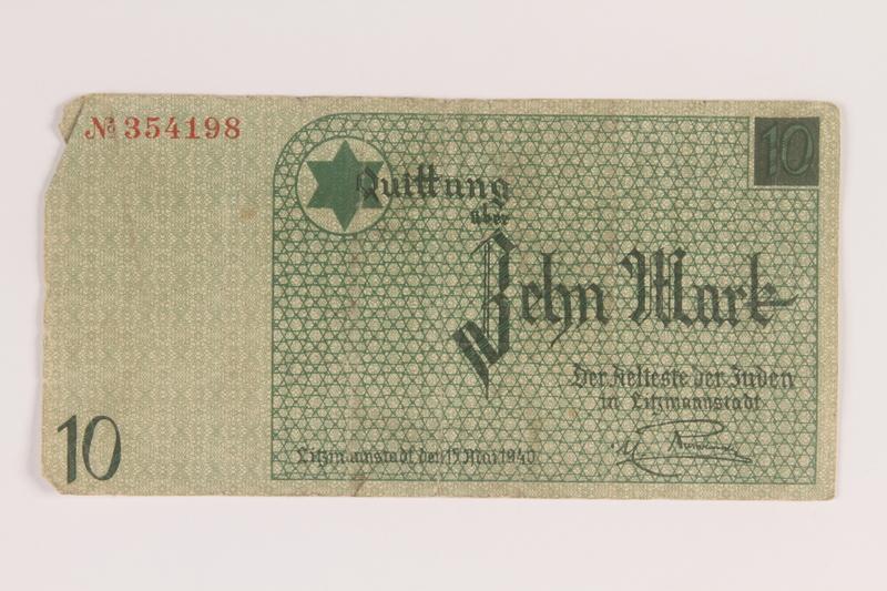 2007.45.90 front Lodz (Litzmannstadt) ghetto scrip, 10 mark note