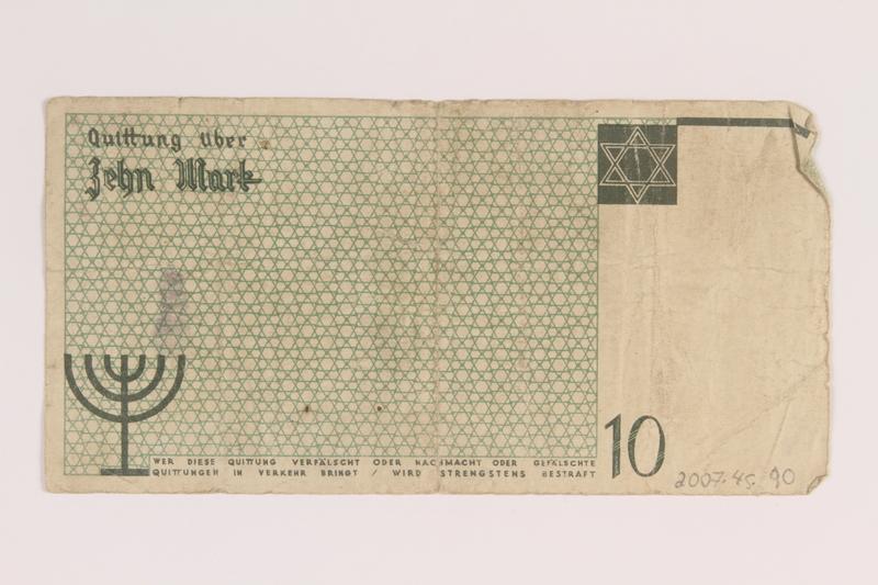 2007.45.90 back Lodz (Litzmannstadt) ghetto scrip, 10 mark note