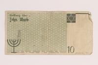 2007.45.90 back Lodz (Litzmannstadt) ghetto scrip, 10 mark note  Click to enlarge