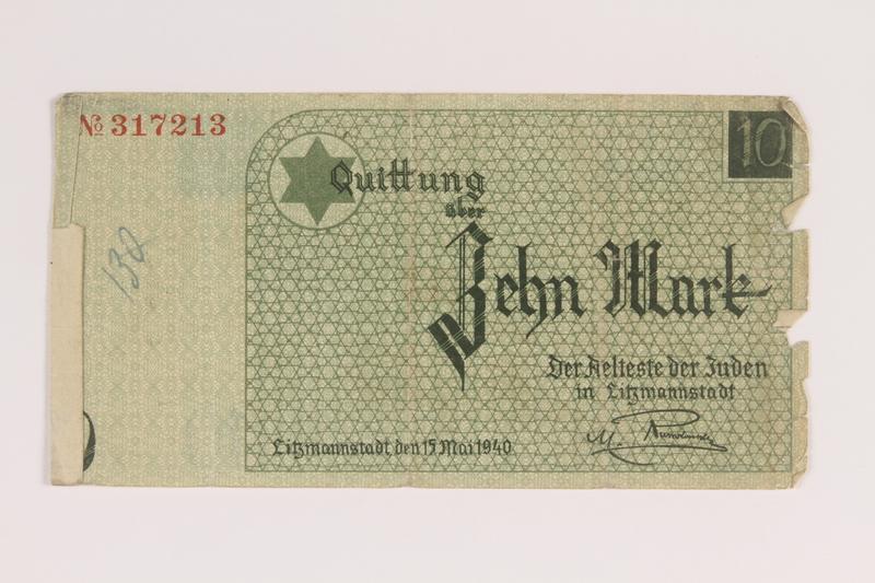 2007.45.91 front Łódź (Litzmannstadt) ghetto scrip, 10 mark note