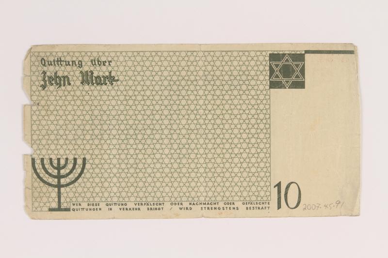 2007.45.91 back Łódź (Litzmannstadt) ghetto scrip, 10 mark note