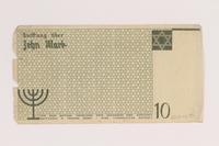 2007.45.91 back Łódź (Litzmannstadt) ghetto scrip, 10 mark note  Click to enlarge