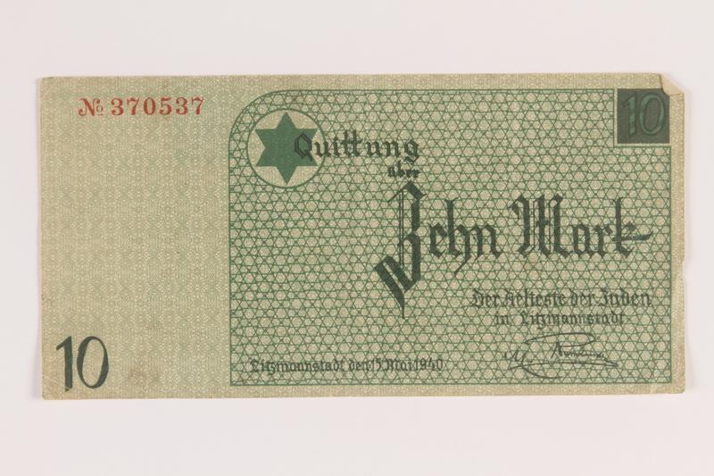 2007.45.92 front Łódź (Litzmannstadt) ghetto scrip, 10 mark note
